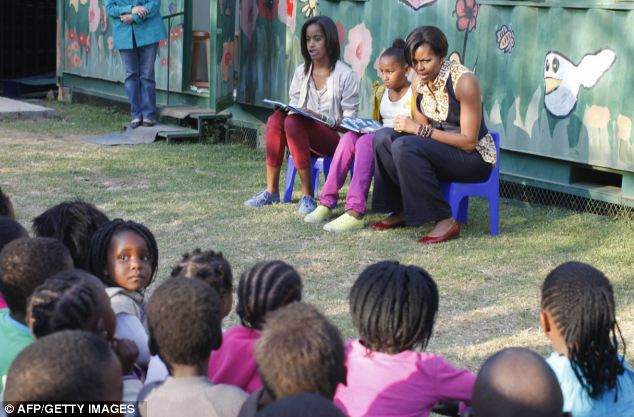Storytime: The First Lady and her daughters read books by Dr Seuss