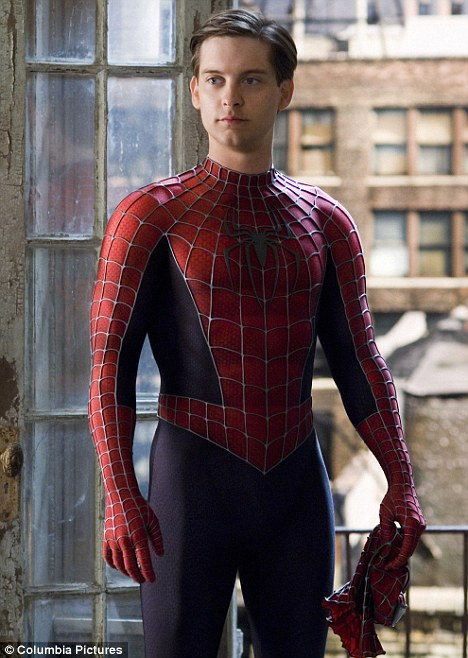 In character: Tobey Maguire in costume on set of Spider-Man 3 in 2007