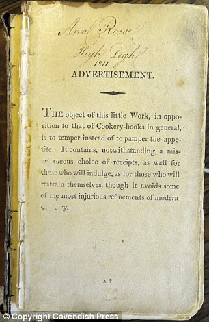 Pages of 200 year old slimming cookery book