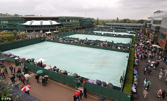 Hours of play were lost to bad weather on the outer courts