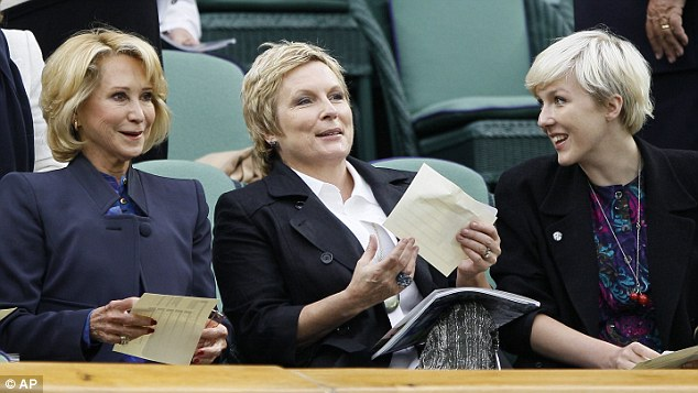 Actress Felicity Kendal, left, watches the match with comedian Jennifer Saunders and her daughter Beattie Edmondson