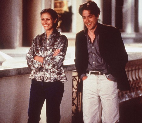 Damaging relationships: Fans of romantic comedies like Notting Hill, starring Julia Roberts and Hugh Grant, also have unrealistic expectations about love