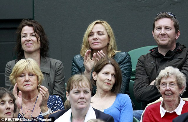 Actress Kim Cattrall was also spotted cheering on fellow American Venus Williams at SW19