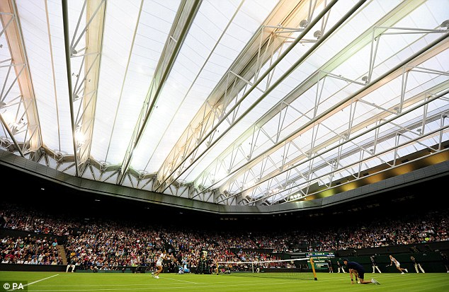 No fancy roof yesterday to protect Andy Murray's game from the rain
