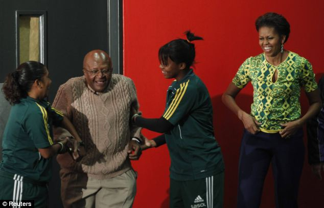 Worn out? Mr Tutu appeared to enjoy the workout with the First Lady during her visit