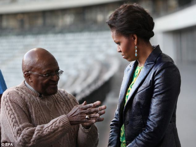 Meeting: The pair met at the stadium built for last summer's World Cup in South Africa