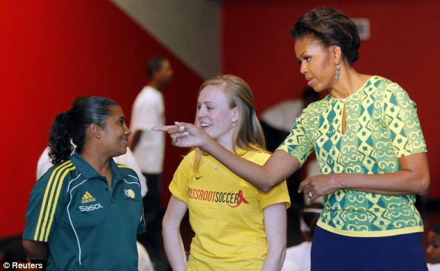 Nice to meet you: Mrs Obama speaks to children during her visit to Cape Town