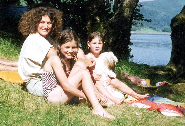 Battered: Lin Russell with Josie and Megan. Even their pet dog Lucy was killed in the attack
