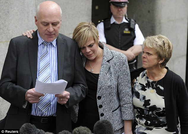Milly's father Bob Dowler reads out a statement outside the Old Bailey as his daughter Gemma, 25, leans on his shoulder. Right is the murdered schoolgirl's mother Sally