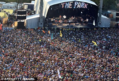 Jam-packed: Tens of thousands of festival-goers flocked to the stage to welcome Pulp back to Glastonbury