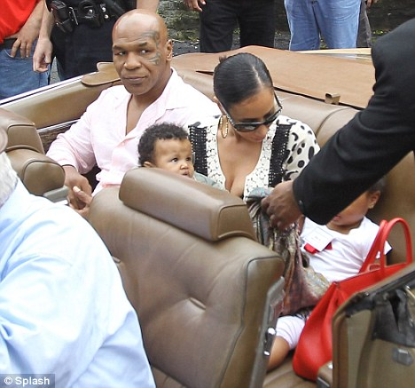Honour: Tyson and family arrive for his Boxing Hall of Fame ceremony in New York earlier in the month