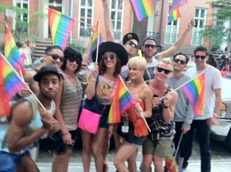 So Happy: Katy Perry and her dancers celebrate Gay Pride in New York today