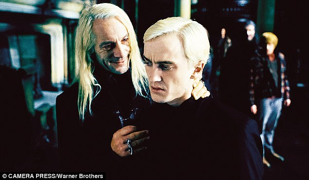 Tom Felton as Draco Malfoy, with Jason Isaacs