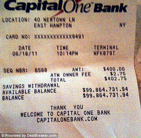 In the Black: The receipt shows a very healthy bank balance, but the owner still has to stump up the $2.75 charge