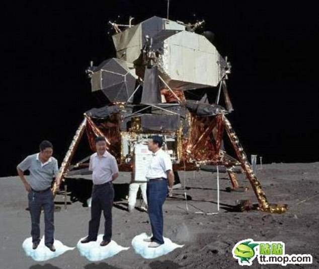 Spoof: A number of viral pictures have appeared around the world showing the three Chinese officials in various locations. Here they are shown landing on the moon