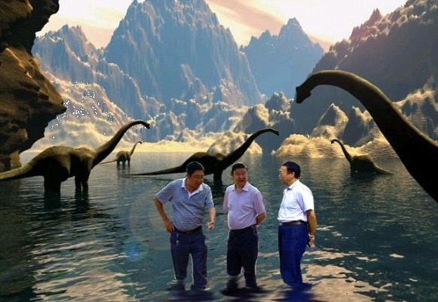Prehistoric: Three men apparently wade through water surrounded by dinosaurs, but this shot is not fooling anybody