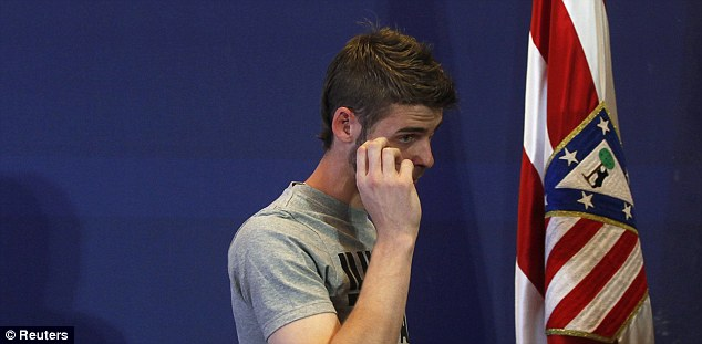 Tearful goodbye: De Gea struggles to control his emotions as he bids farewell to Atletico