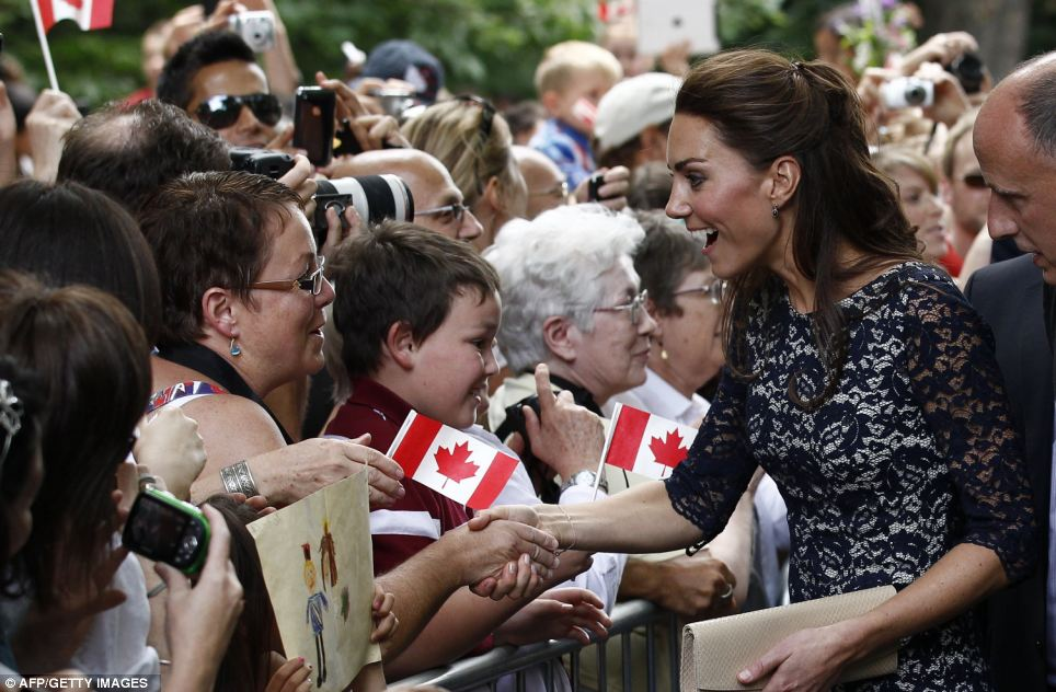 What a natural: Kate shows she can work the crowd, shaking hands and gasping just on cue as delighted Canadians swoon