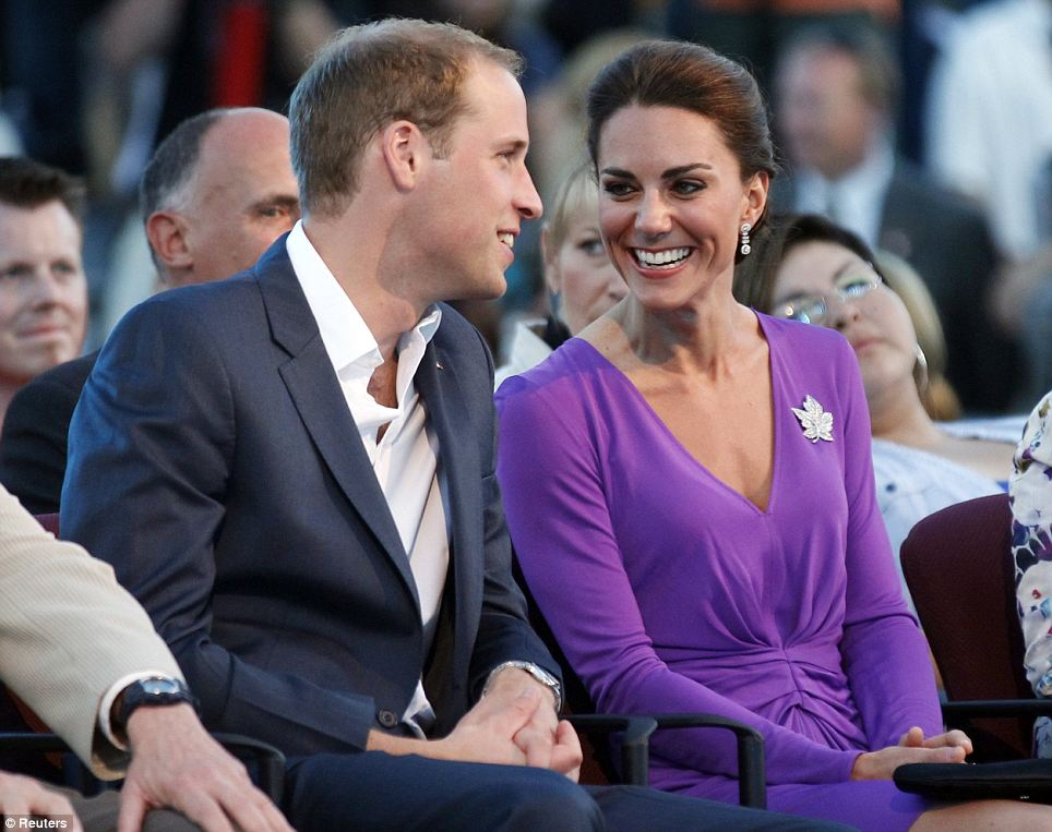 Pretty in purple: Prince William and the Duchess of Cambridge took part in Canada Day celebrations on Parliament Hill