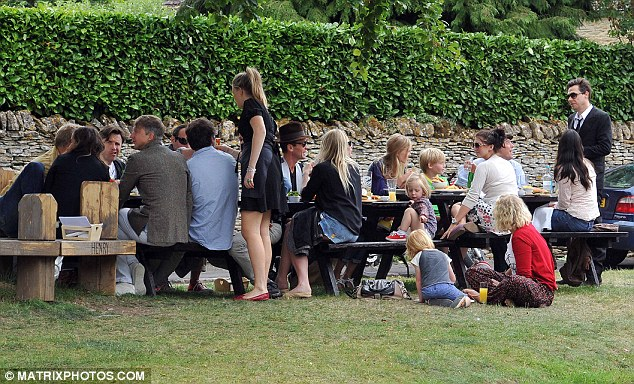 Morning after: The wedding party enjoyed an informal lunch at The Swan