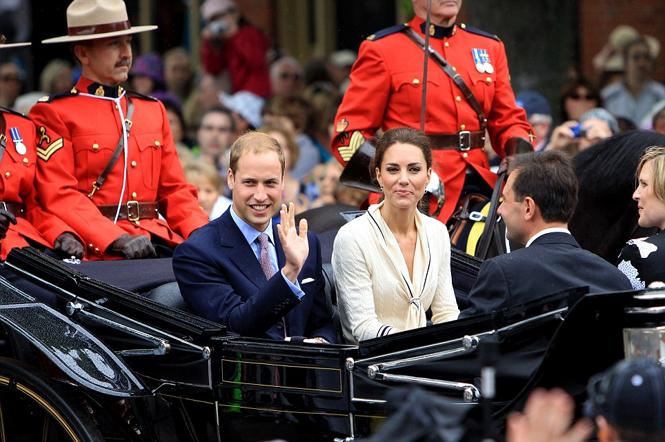 Welcoming: The Duke and Duchess of Cambridge arrive at Province house in Charlottetown, Prince Edward Island, escorted by Royal Canadian Mounted Police officers