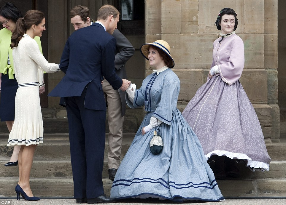 Curtsey: An actor dressed in period costume meets the Prince