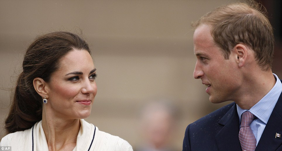 Close: The Duke and Duchess of Cambridge enjoy a private moment as they continue with their busy schedule