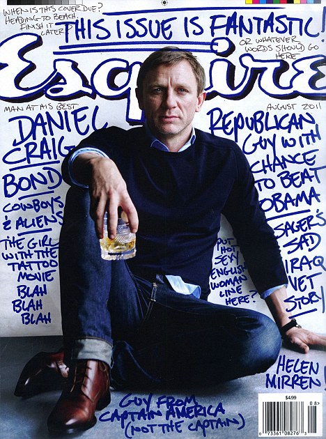 Cover guy: Daniel Craig relaxes with a drink on the cover of Esquire magazine