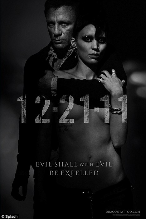 R-rated: Craig and Rooney Mara in a poster for the Girl with the Dragon Tattoo re-make