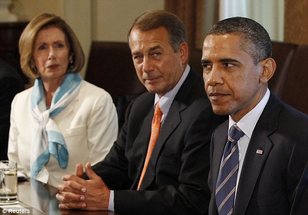 Stalemate: President Barack Obama with House Speaker John Boehner (centre) and House Democratic Leader nancy Pelosi at a budget meeting in the White House last night which once again failed to resolve the debt crisis