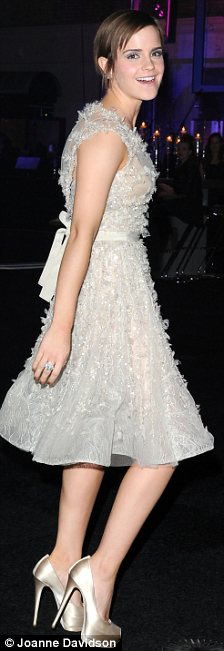 Glittering girl: The actress had decided to wear a stunning Elie Saab gown to the Harry Potter after-party change out of the dramatic Oscar De La Renta gown she had donned for the premiere on Thursday night