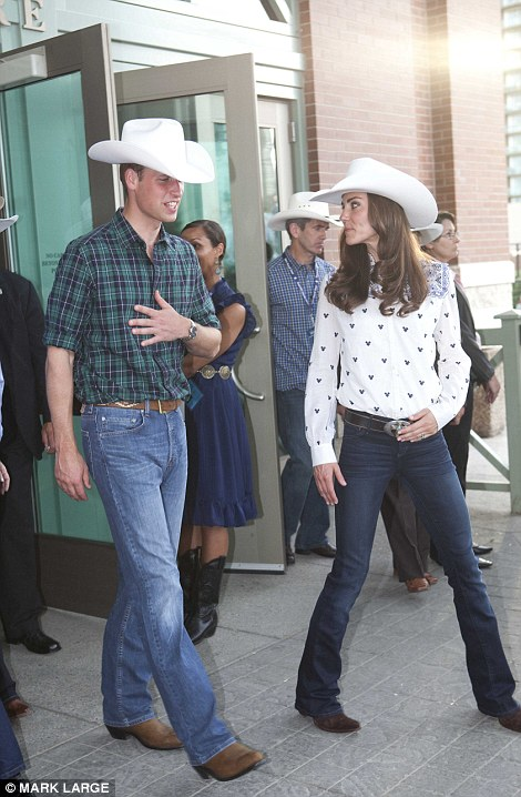 The Duke and Duchess of Cambridge arrive at the BMO Convention Centre by stage coach to watch rodeo and mutton busting