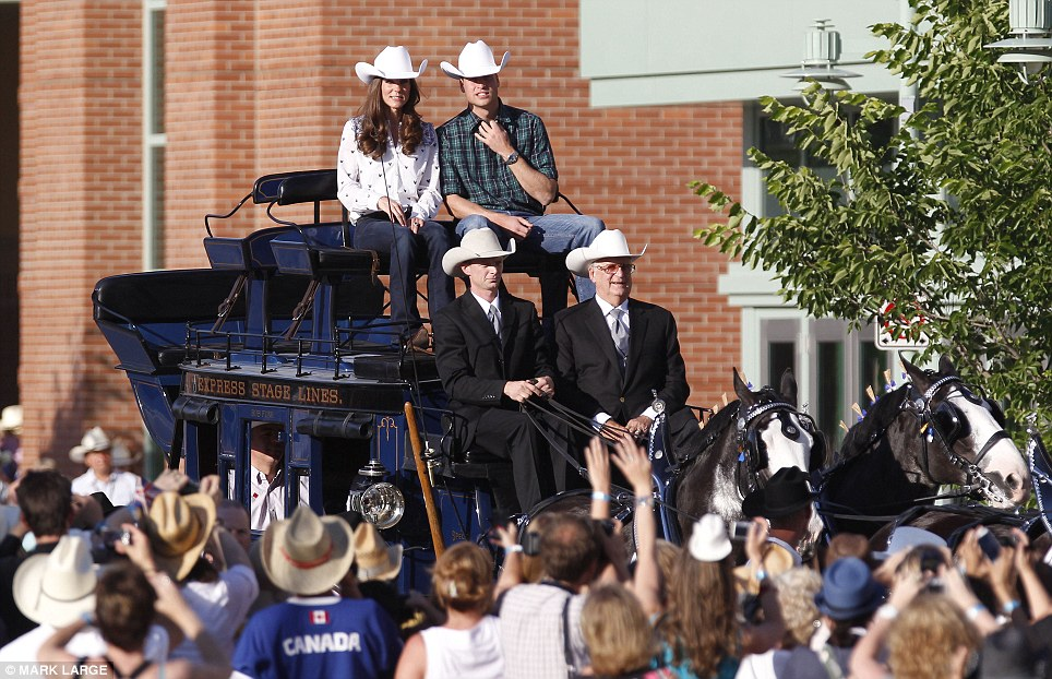 What an entrance: The royal couple rolled into town on an authentic wild west stagecoach