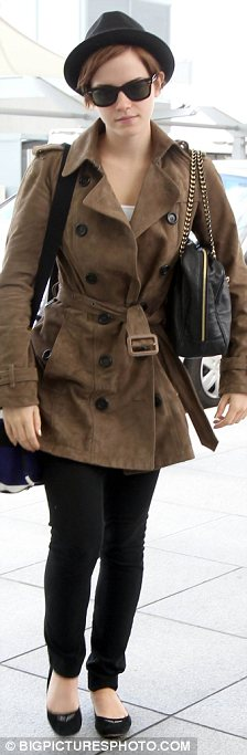 Leaving London: After a short stay in the U.K. Emma headed to Heathrow after leaving her hotel earlier today