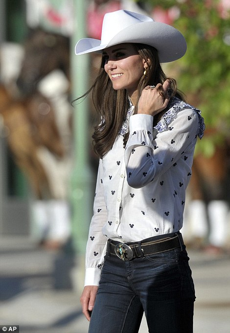 Kate, the Duchess of Cambridge, attends a rodeo demonstration at the Calgary Stampede on Thursday
