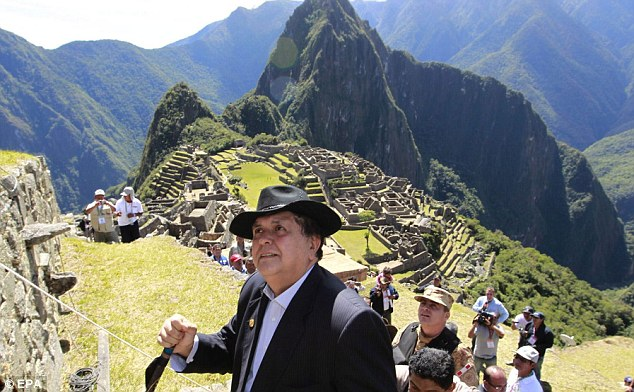 VIP guest: Peruvian President Alan Garcia joins invited dignitaries and tourists on the climb up the mountain
