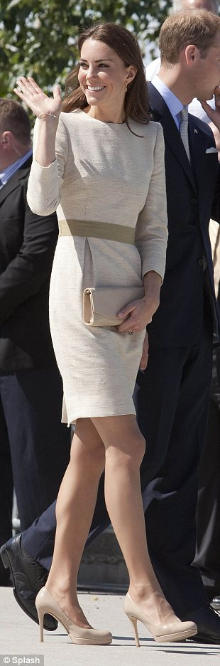 Arrive in Yellowknife: official welcome ceremony at the Somba K'e Civic Plaza on July 5. Kate wears Bullet dress by Danish designer Malene Birger, LK Bennett pumps and a neat nude clutch