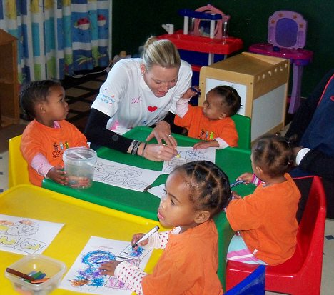 Meet and greet: Princess Charlene also met children during several organised trips during her honeymoon in South Africa