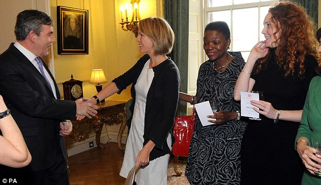 Meet and greet: Three years ago it was all smiles as the then prime minister Gordon Brown met Rupert Murdoch's daughter Elisabeth (left), Baroness Amos (centre) and Rebekah Wade (now Brooks) during a reception for women in business at 10 Downing Street