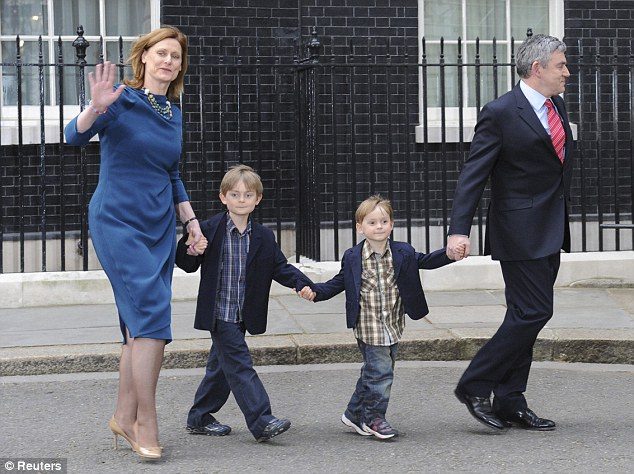 Scuppered: Gordon Brown, with his wife Sarah and children John Macaulay and James Fraser, leaves 10 Downing Street after losing the election in May 2010