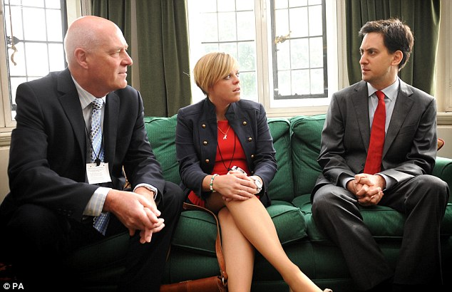 Inquiry: Labour leader Ed Miliband (right) meets with the family of murdered school girl Milly Dowler, father Bob (left) and sister Gemma, at his office in Westminster