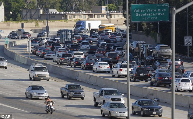 Pile-up: Traffic on Interstate 405 is seen from the Sherman Oaks Galleria mall car park on Wednesday in Los Angeles, California, ahead of the 53-hour shutdown from Friday evening