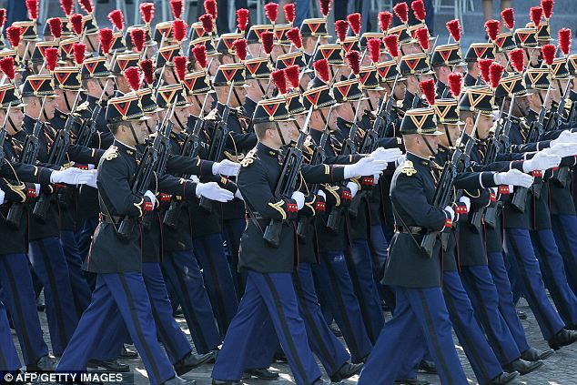 French soldiers from the Republican Guard infantry regiment march down the Champs-Elysees during the annual military parade in Paris
