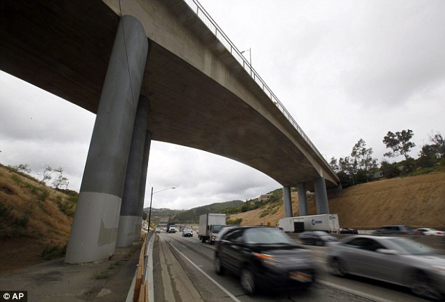 Closure area: This photo from last Wednesday shows the Mulholland Drive bridge over Interstate 405