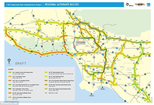 Other ideas: This regional detour map shows how drivers can get around  Los Angeles this weekend