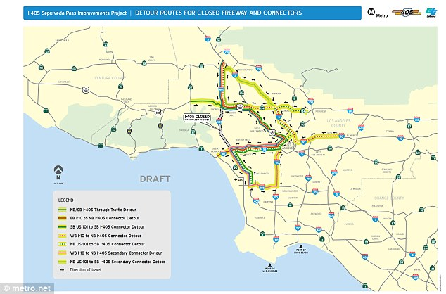 Mapped out: Local detour rotes for the closed freeway are shown ahead of the road closures in Los Angeles