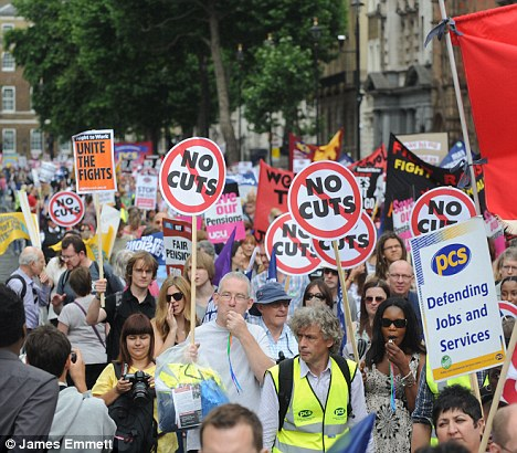 Fears for the future: Public sector workers throng the streets of London in protest over the cuts to services