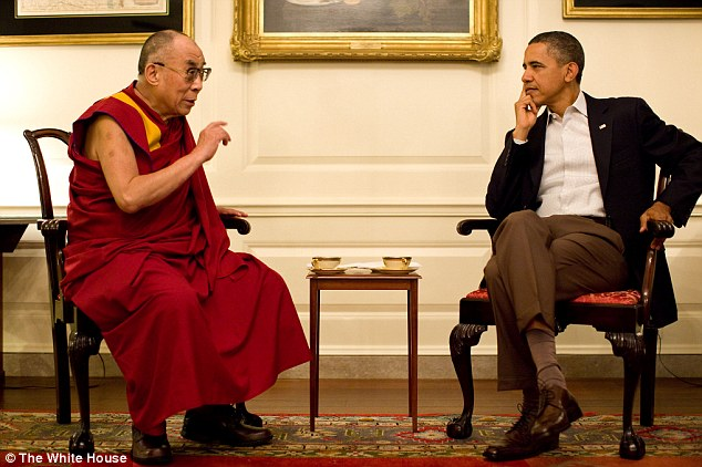 Welcome: Barack Obama meets with the Dalai Lama in the Map Room of the White House