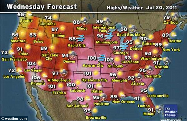 Higher and higher: The temperatures start creeping up on the East Coast