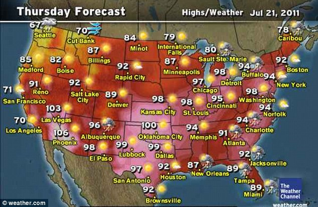 No respite: Thursday's picture offers little comfort for those wishing for a break from the heat